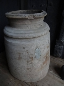 EXTRA GROTE OUDE NEPALESE POT XXL 46 cm hardhout nr. 8809